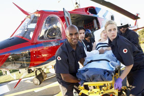 Ambulanzhelikopter nach der Landung