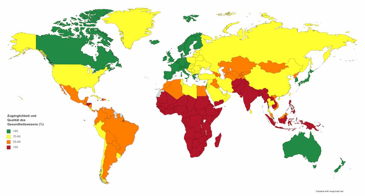 Karte: Zugänglichkeit und Qualität des Gesundheitssystems