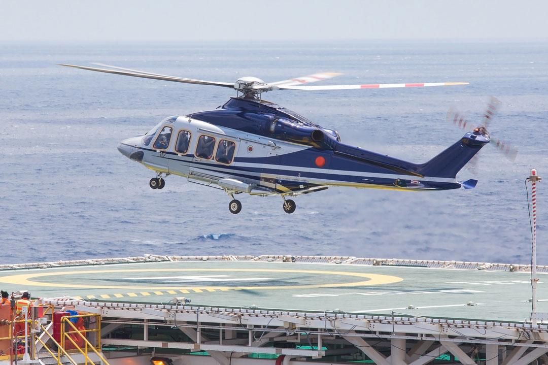 Helikopter landet offshore
