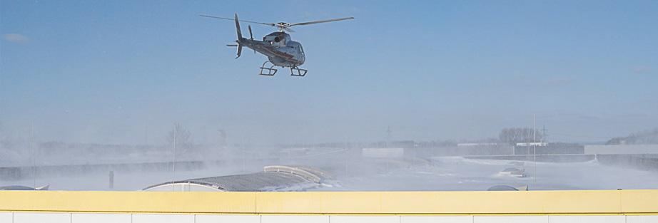 Schneeflug mit dem Helikopter