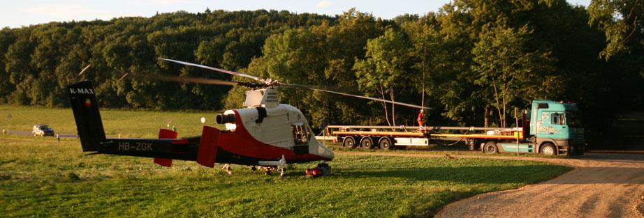 helikopter last fahnenmast