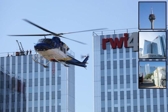 Lastenflug auf das RWI4-Gebäude in Düsseldorf