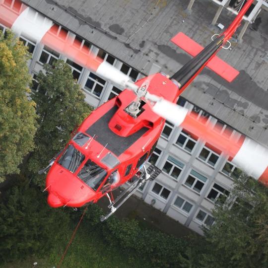 Lastenflug am Essener Rathaus